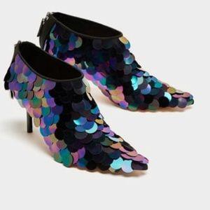 Zara sequin high heel ankle boots